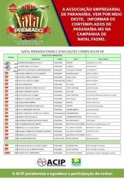 ACIP DIVULGA LISTA DE GANHADORES DA CAMPANHA DE NATAL PREMIADO FAEMS